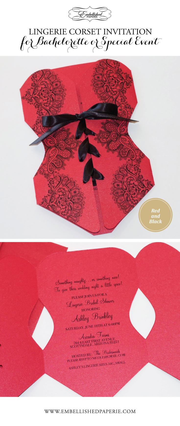 Lingerie Corset Bridal Shower Invitation - Bachelorette Party ...