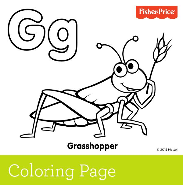 Gu0027 is for grasshopper! Grasshoppers like grass, so have your little - best of mattel coloring pages alphabet