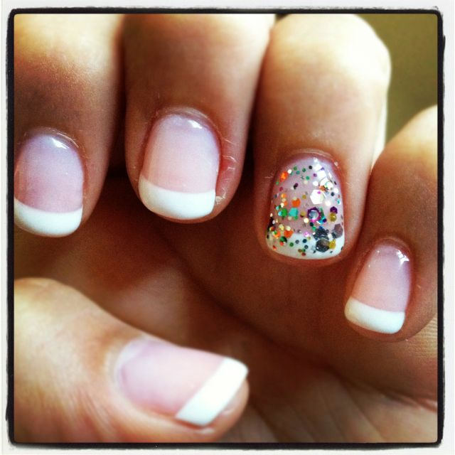 French Tip Gel Nails With Glitter Sophisticated Nails And Waxing