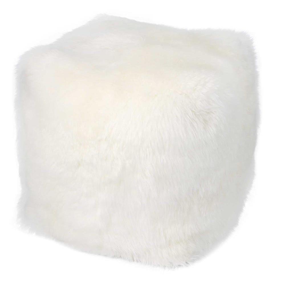 Remen Faux Fur Cube Ottoman In White Ottoman Cube