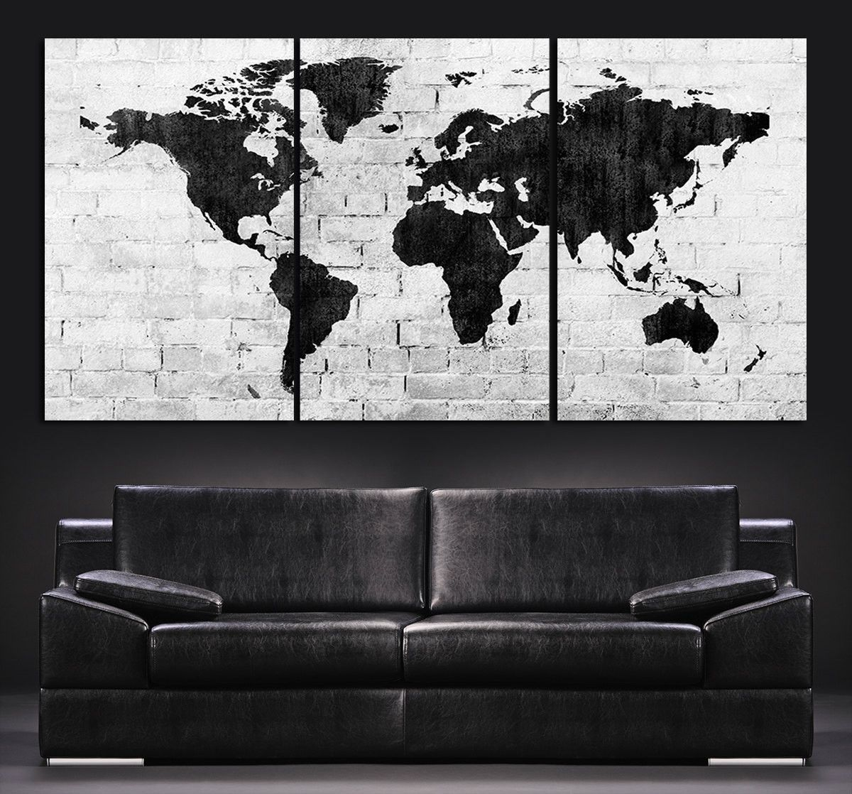 Large wall art world map canvas print contemporary 3 panel large wall art world map canvas print contemporary 3 panel triptych black and white large gumiabroncs Gallery