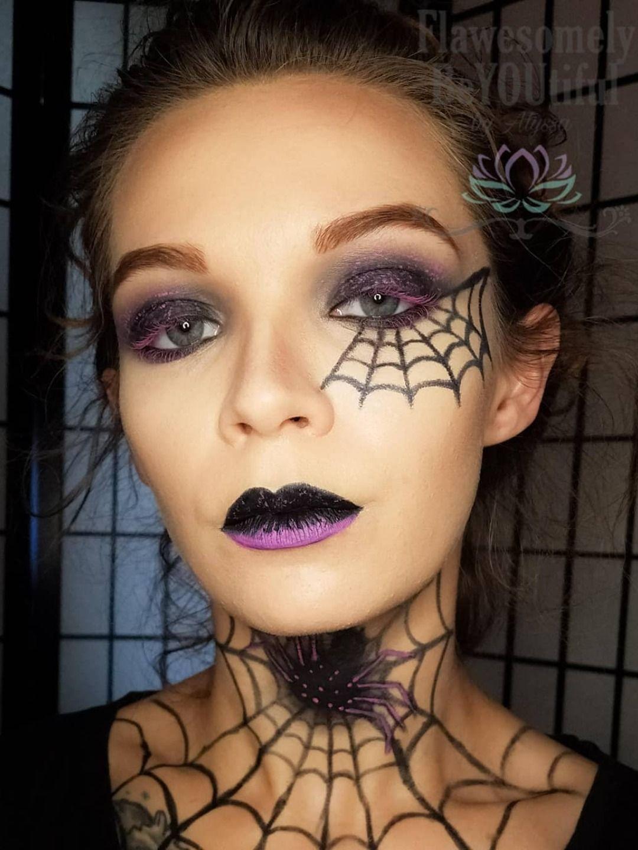 Spooky Halloween spider web makeup look 2019 in 2020