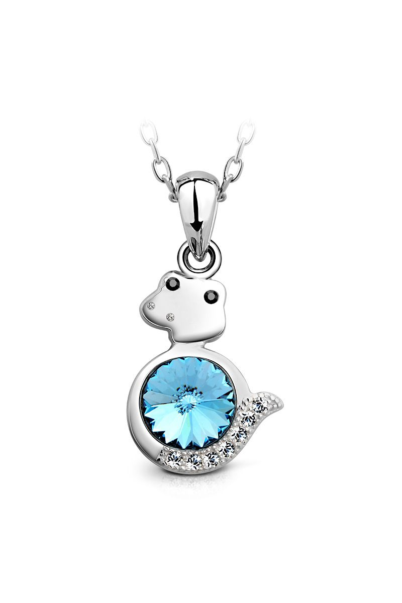 Snake Pendant. A part of CAMEO Blue premium pendant collection crafted from sterling silver; Crystals from Swarovski, platinum plated. SKU: SSP0014