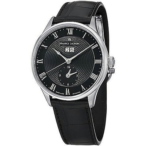 Maurice Lacroix 40mm MasterPiece Traditional Swiss Automatic Dual Time Zone Leather Strap Watch