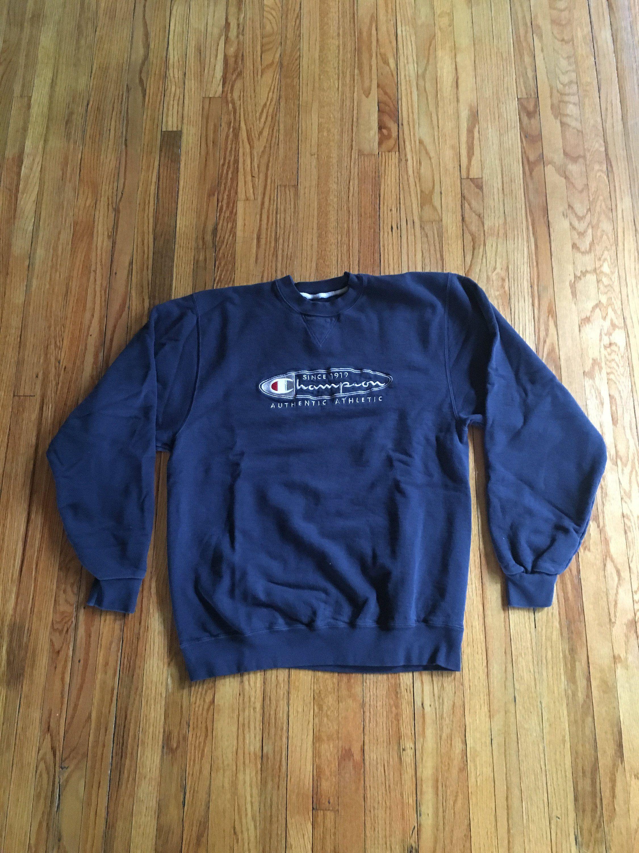 Vintage 90 S Champion Authentic Athletic Long Sleeve Dark Blue Crewneck Sweatshirt Sweatshirts Blue Crewneck Crew Neck Sweatshirt [ 3000 x 2250 Pixel ]