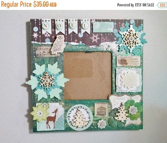Winter Collage Frame, Christmas Frame, Emerald Green, Mixed Media