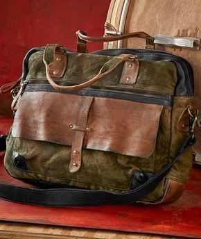 Travelogy Luggage Dark Grey Mens Military Canvas Leather Satchel School 14 Laptop Shoulder Messenger Bag