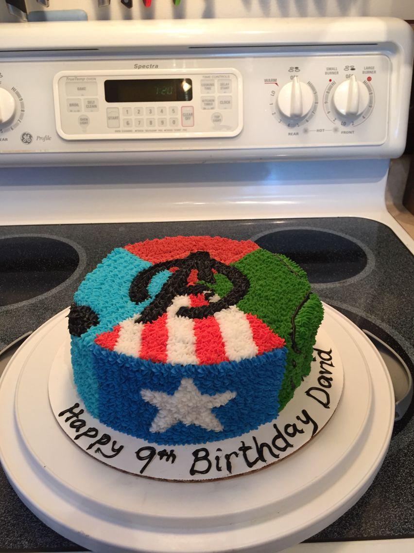 Avengers cake made with buttercream frosting avenger