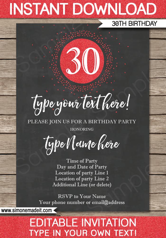 Chalkboard 30th Birthday Invitations Template