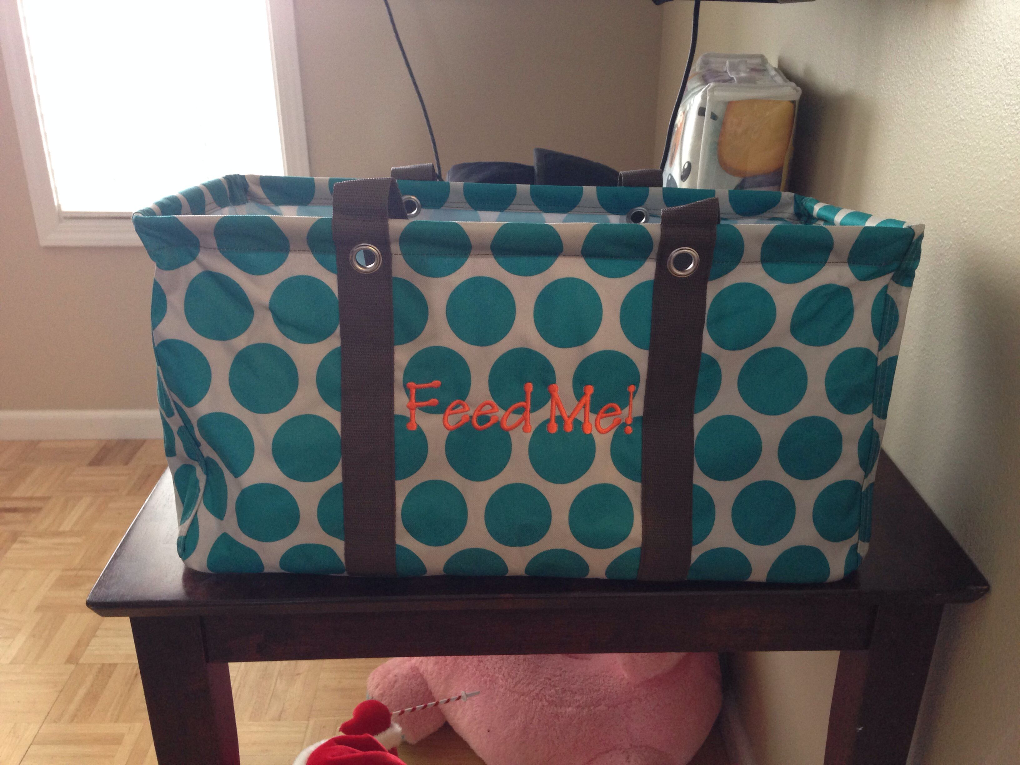 Large utility tote with orange embroidery thirty one