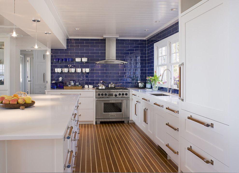 Blue Glass Tile Backsplash Kitchen Beach With Coastal Kitchen Ct