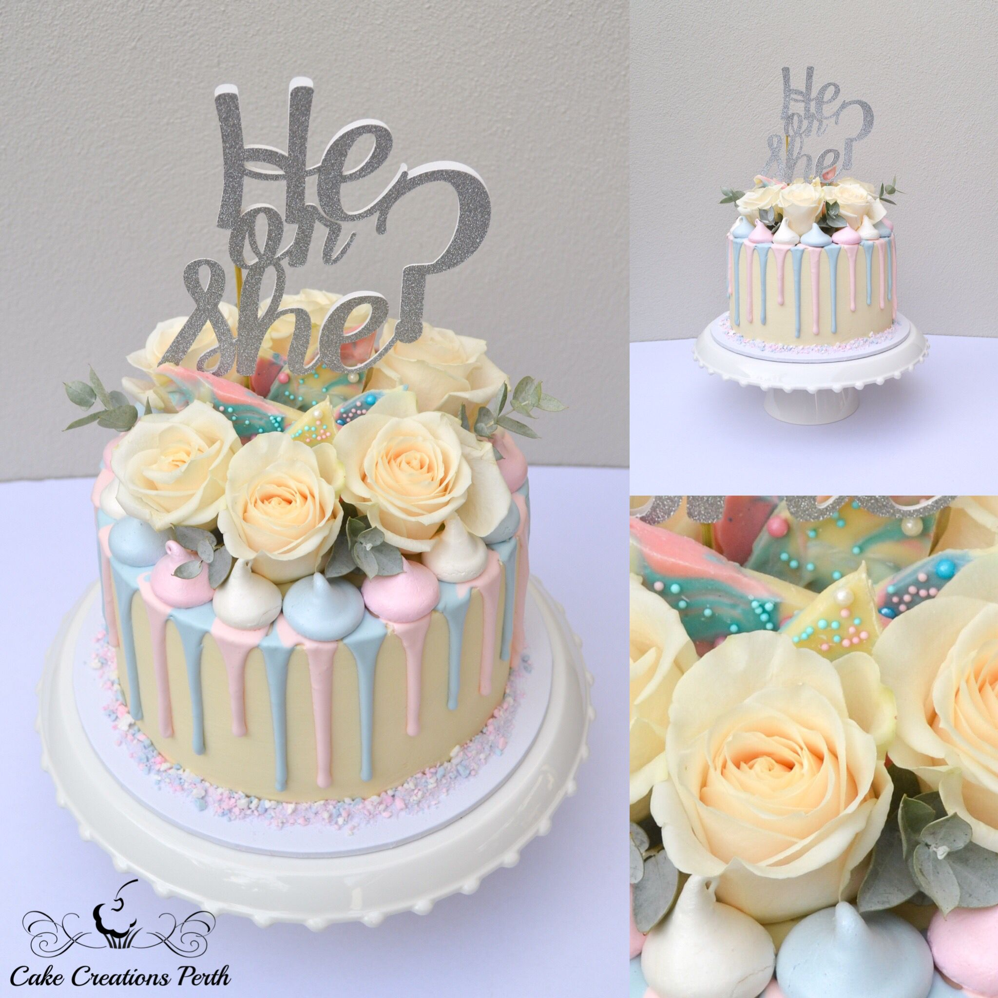 Gender Reveal Cake Coloured Vanilla Sponge Cake Vanilla