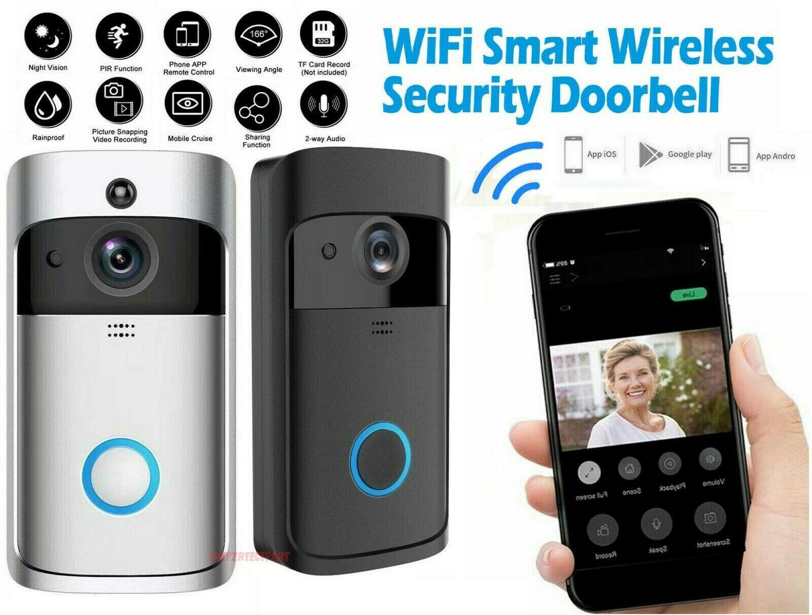 FLOUREON WiFi Wireless Smart Video Doorbell 720P HD IR Security Camera Ring Bell