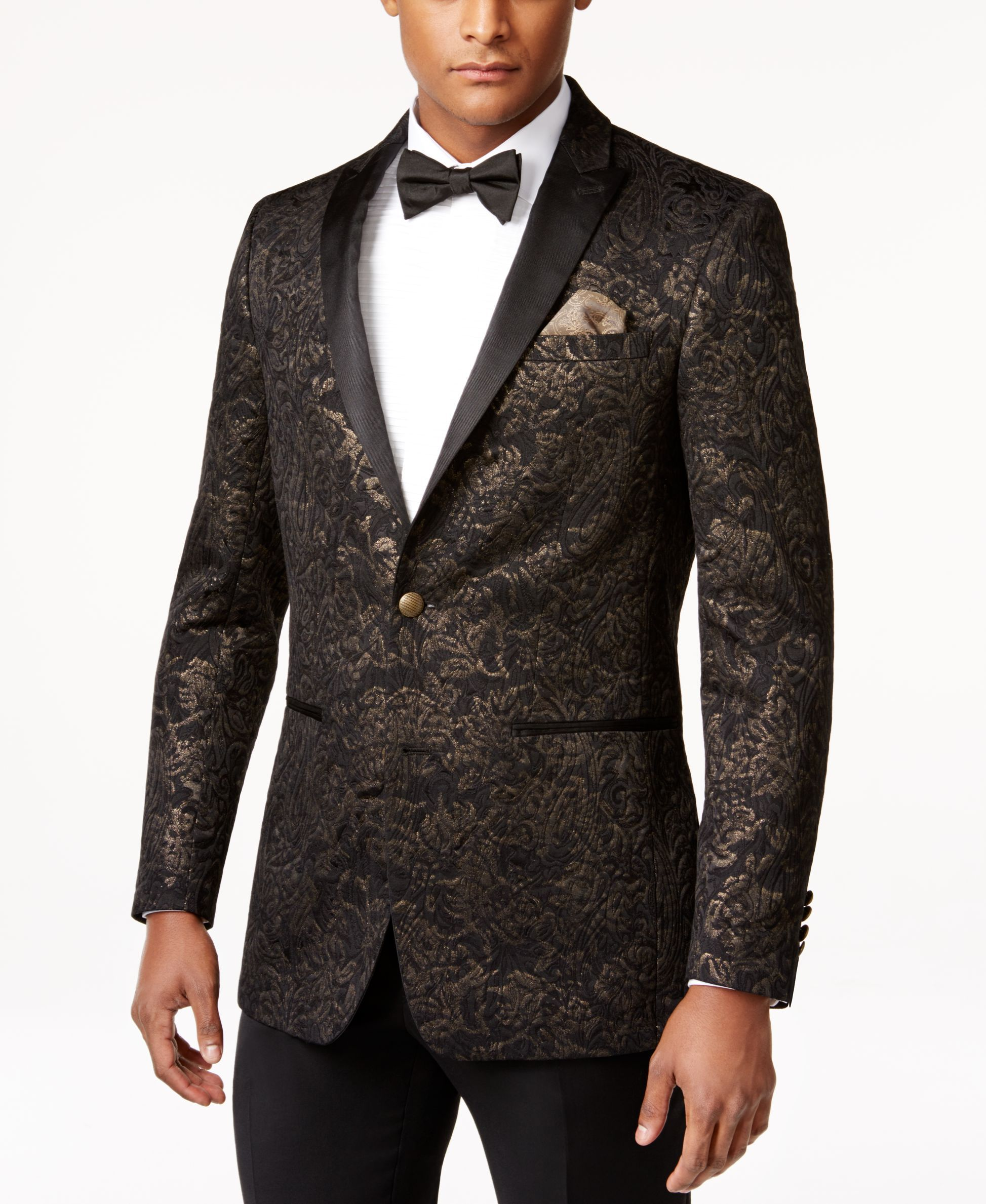 Tallia Men's Vitale Slim-Fit Floral-Scroll Quilted Sport Coat ... : mens quilted sport coat - Adamdwight.com