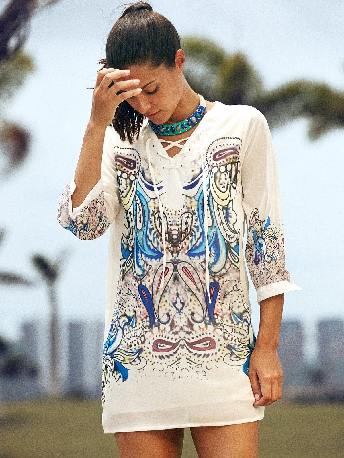 3/4 Sleeve V-Neck Lace-Up Printed Dress For Women