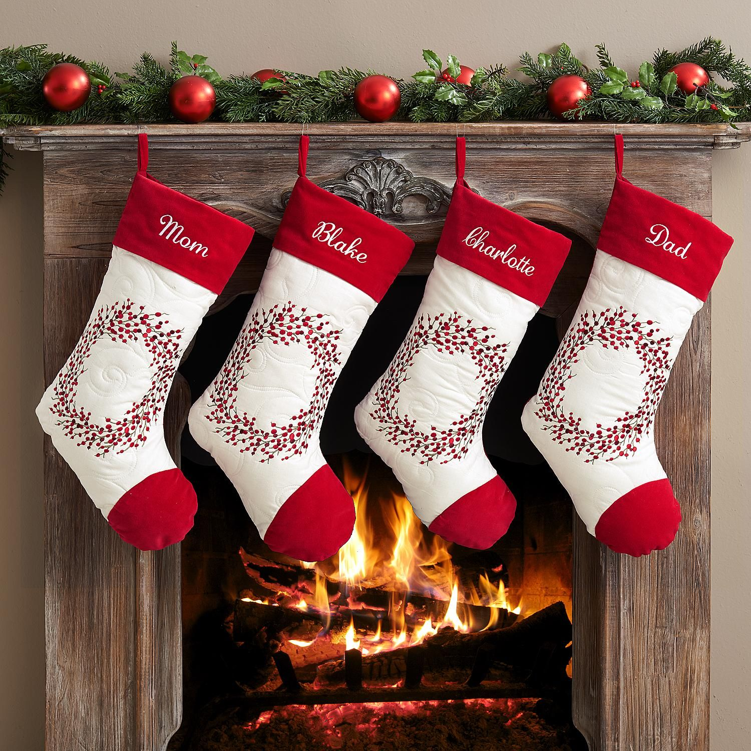 Holiday Berry Wreath Christmas Stocking | Embroidery | Pinterest ...