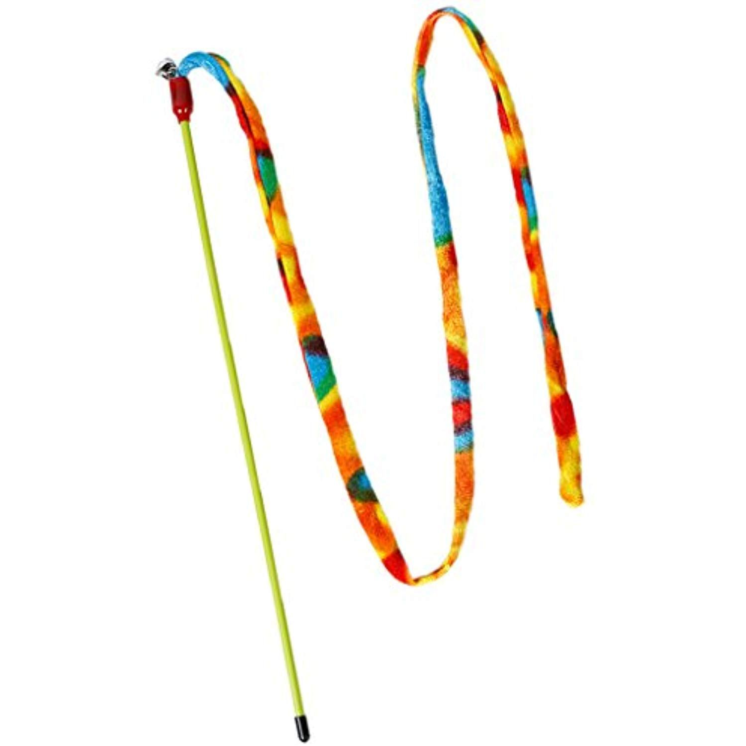 MonkeyJack Colorful Cat Kitten Teaser Wand Stick Chaser Rod Pet Activity Toys with Bell 1m Rope Rainbow Stripe