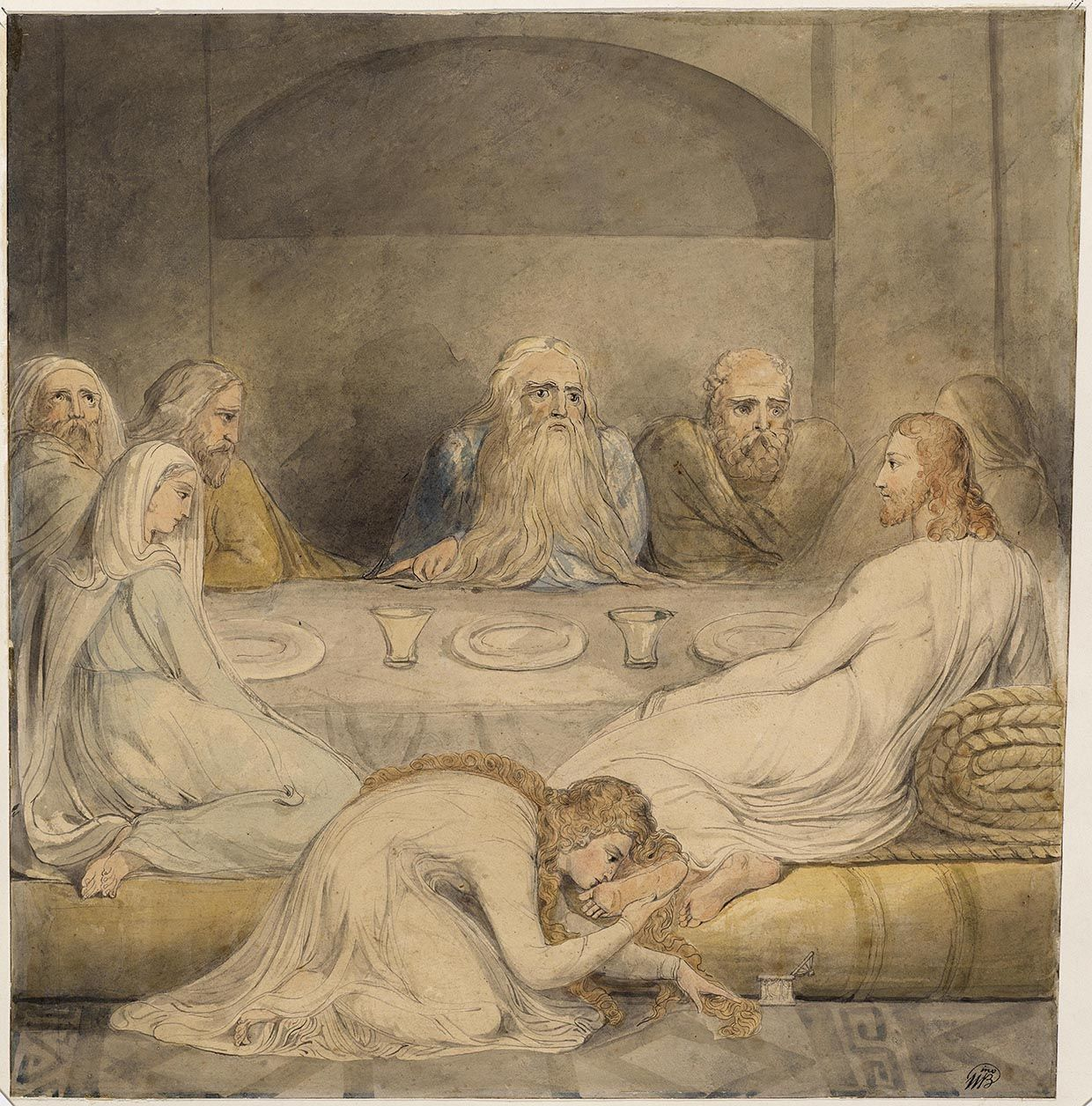 "William Blake: ""Mary Magdalene Washing Christ's Feet"" (c. 1803-05). Illustration for the Bible (New Testament), object 1 (Butlin 488). Pen, ink and water color. Philadelphia Museum of Art, Philadelphia, Pennsylvania, USA"