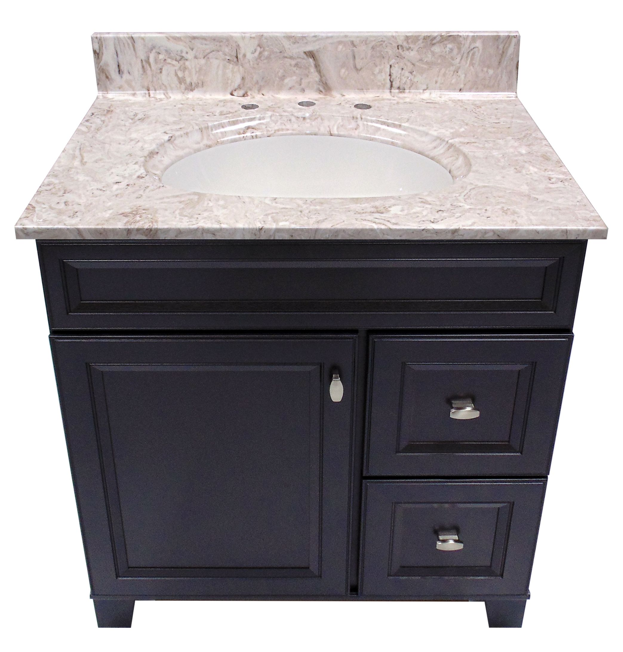 Us Marble Cultured Vanity Top Shown In Brown On White With An Olympus Integral Bowl
