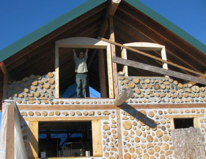 Cordwood Construction Insulation : Cordwood buildingthe walls are ″ spruce with foam