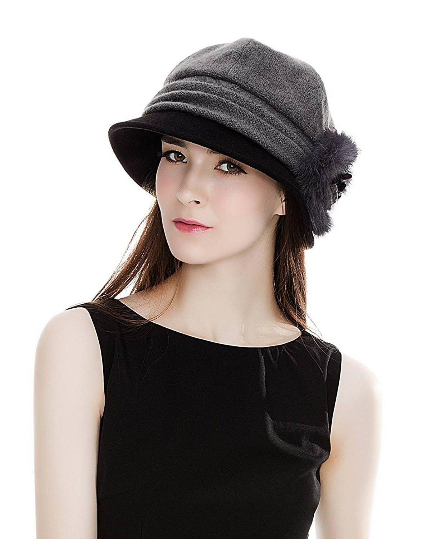 SIGGI Cloche Round Hat for Women 1920s Fedora Bucket Vintage Hat Flower Accent
