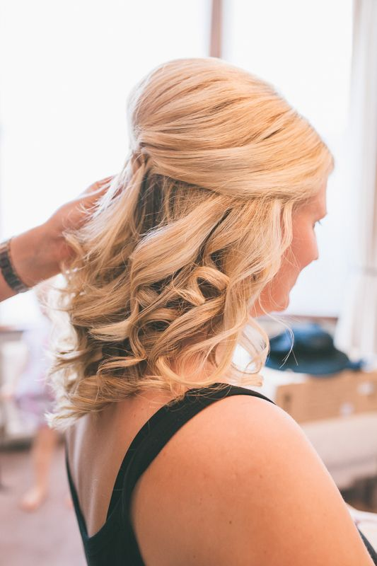 Almost Finished Bridesmaid Half Up Half Down Curls With Height Hair Styles Wedding Hairstyles Half Up Half Down Half Up Half Down Hair Prom