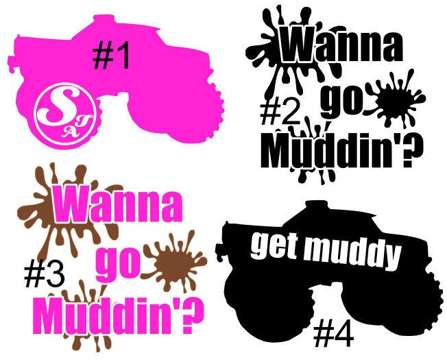 Truck X Mudding Monogram Country Girl Sticker Decal Car Window - Custom vinyl decals etsy