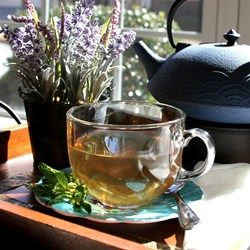 "Lavender Mint Tea | ""This mood-boosting tea is delicious hot or iced. And fresh lavender and mint from the garden make it even more special!"""