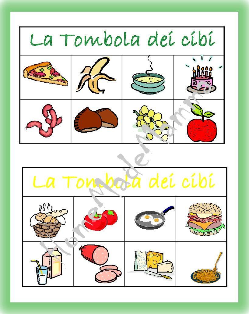Eccezionale La tombola degli alimenti: giochi da tavolo fai da te | Italian  QR92