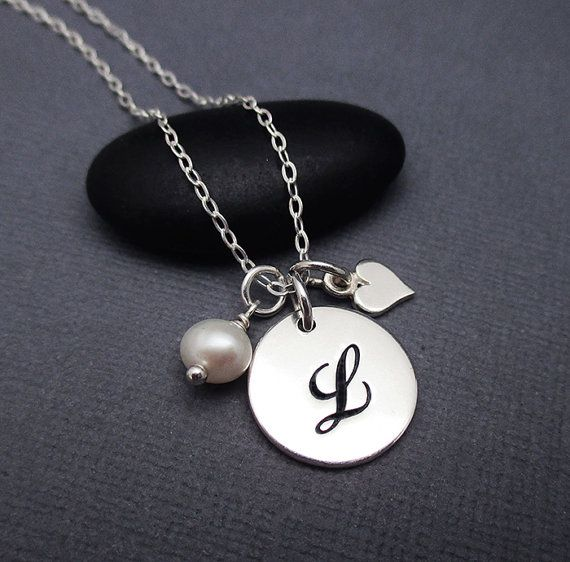 l necklace sterling silver cursive letter l disc charm pendant with sterling silver chain