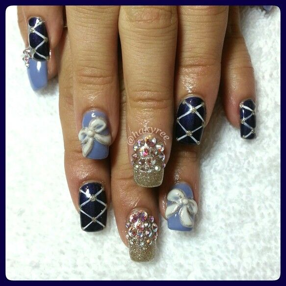 Kawaii Japanese gel nails design with 3D acrylic bows finished with ...