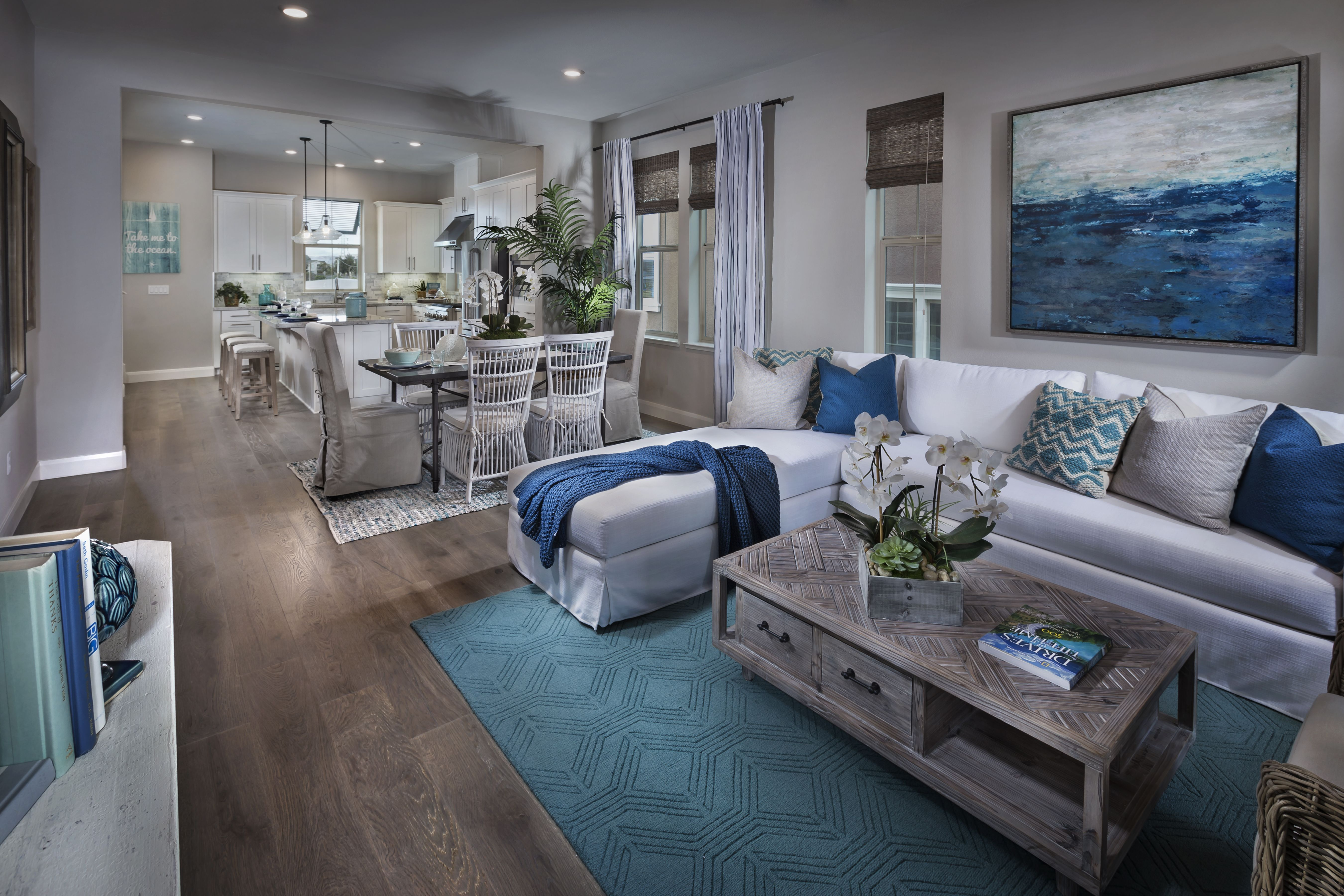 Waterstone In Milpitas By Lennar Bay Area Residence 3 Gorgeous Open Concept Living Area Decorated With Blue Accents Home New Homes Lennar