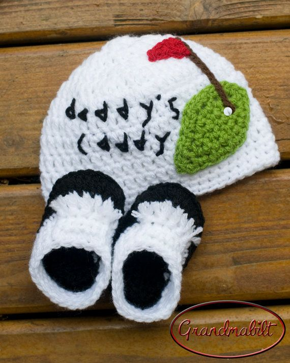 Baby GOLF BEANIE & SHOES Crocheted for Girls or by Grandmabilt, $38.00