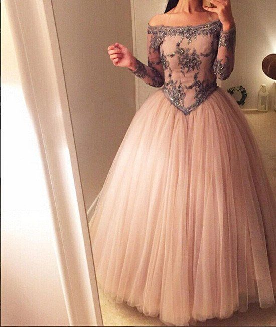 unique off shoulder tulle long prom dress, evening dress