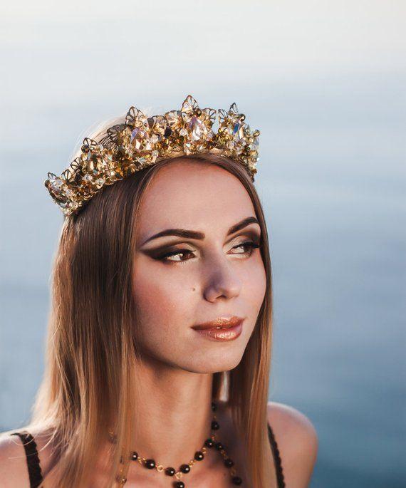 Crown Tiara rose Gold Wedding Crown Bridal Tiara Gold prom accessory Crystal  Crown hair accessories 8d1e15e9794e