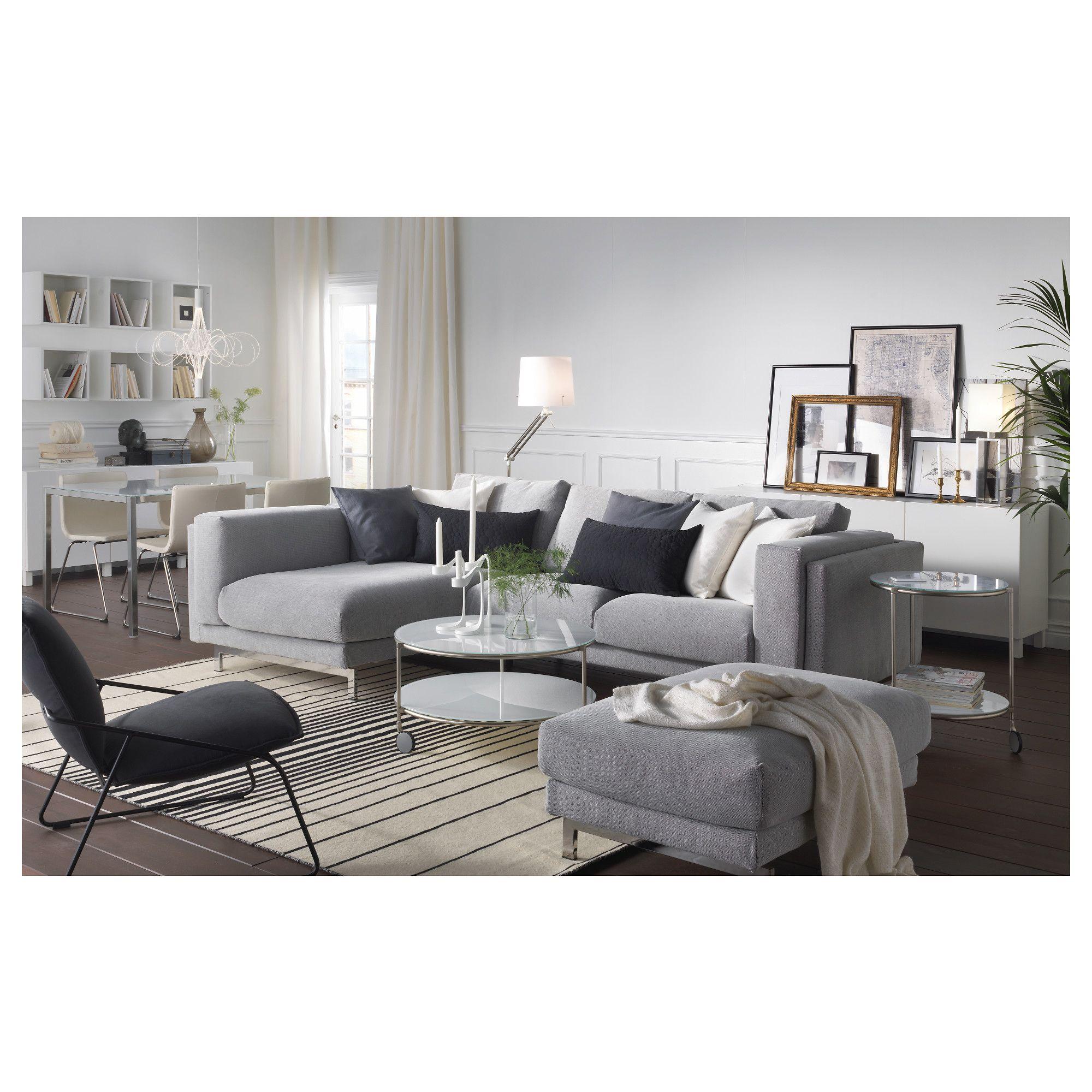 NOCKEBY 3 Seat Sofa With Chaise Longue Left Tallmyra White Black