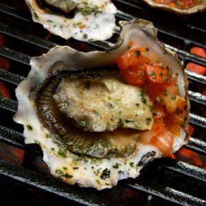 Spicy Grilled Oysters with Asian Pepper Relish