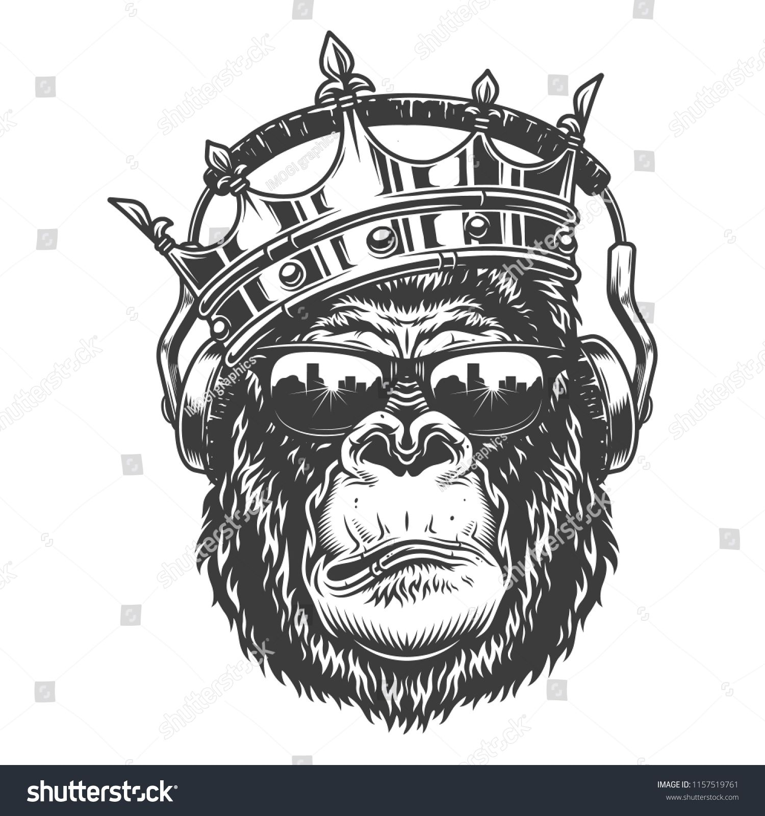 Gorilla Head In Monochrome Style In Crown And Glasses And