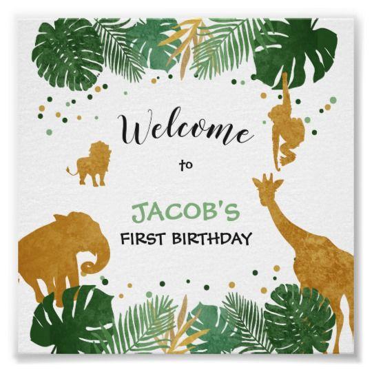 Party Animals Welcome Sign Zoo Safari Jungle Zazzle Com In 2021 Safari Baby Shower Invitations Safari Birthday Animal Birthday Party