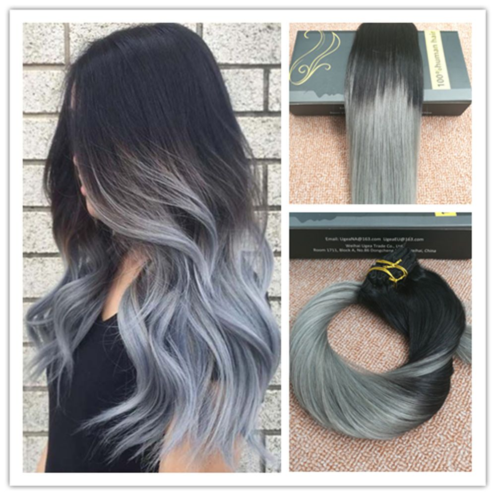 7A Full Head Clip In Remy Human Hair Extensions Ombre ...