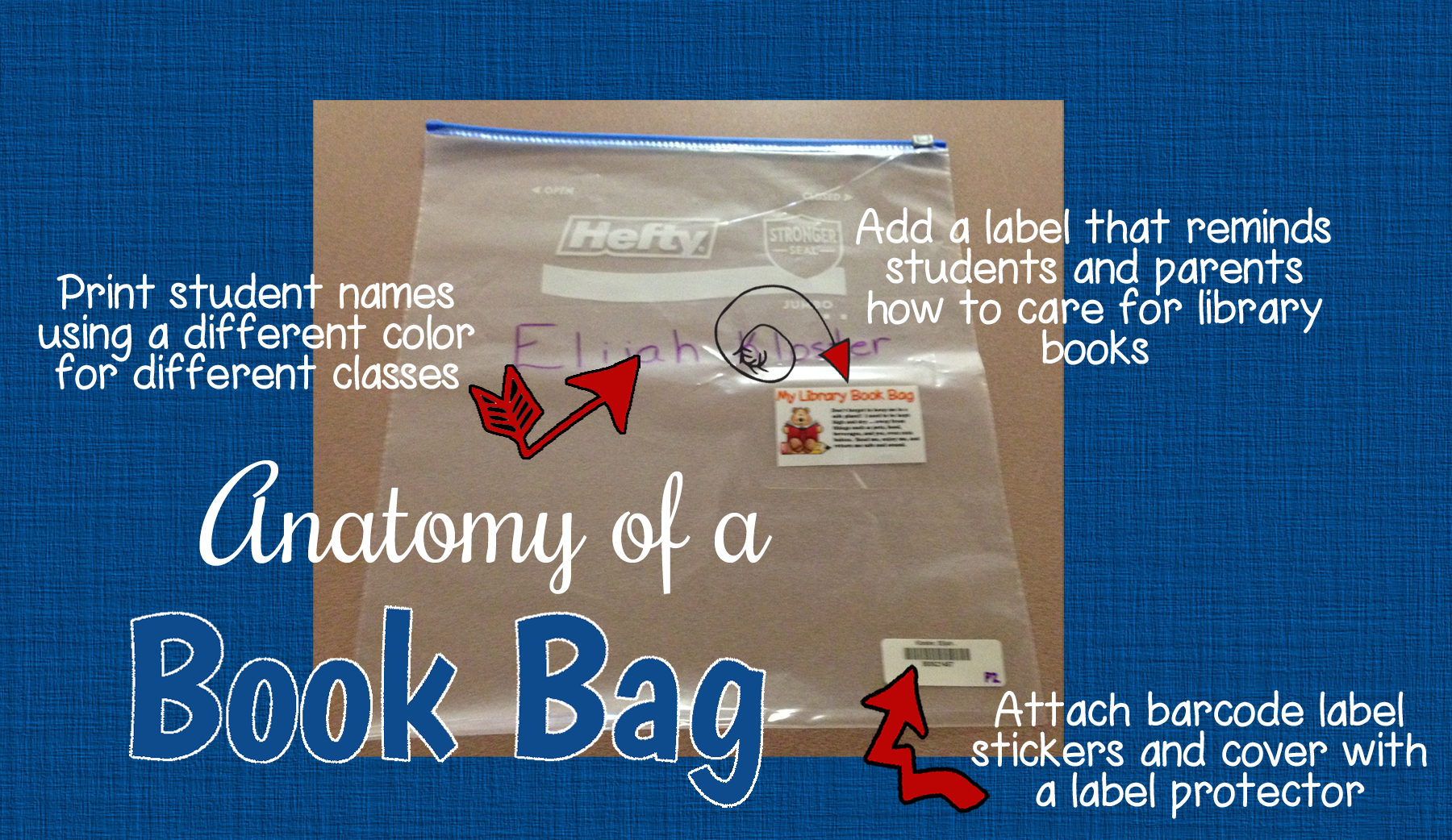Use A 2 5 Gallon Ziploc Bag To Make Library Checkout Easier Click Through School Library Books Elementary School Library Curriculum Elementary School Library