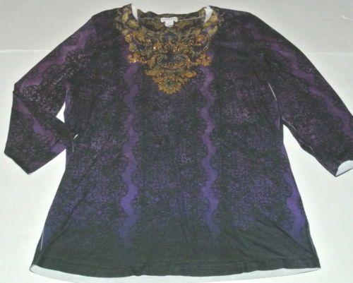 Chico's Top Shirt Knit Blouse Rhinestone Bling Purple Size 2 Ladies Womens