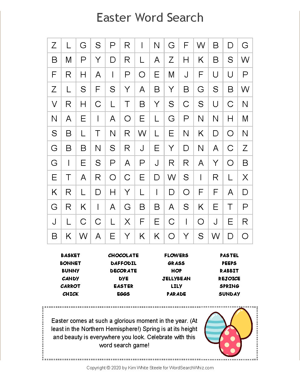 Come Celebrate Easter With This Super Fun Word Search Puzzle Game You Can Either Play Online Or Print It For In 2020 Word Search Puzzles Cool Words Word Search Games