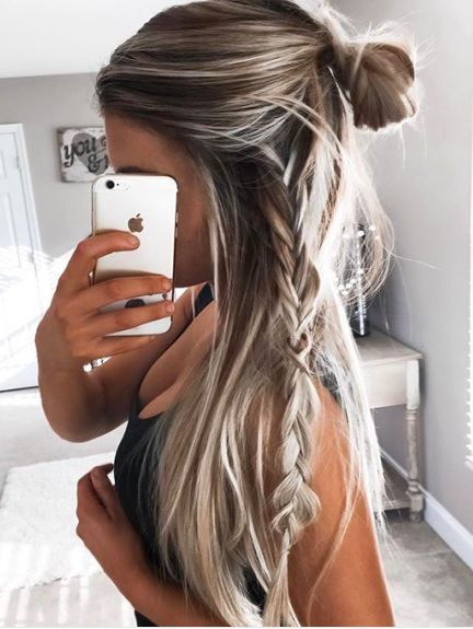 Straight hair with bun braid hairstyles girly and 30th 20 girly hairstyles you must love urmus Images