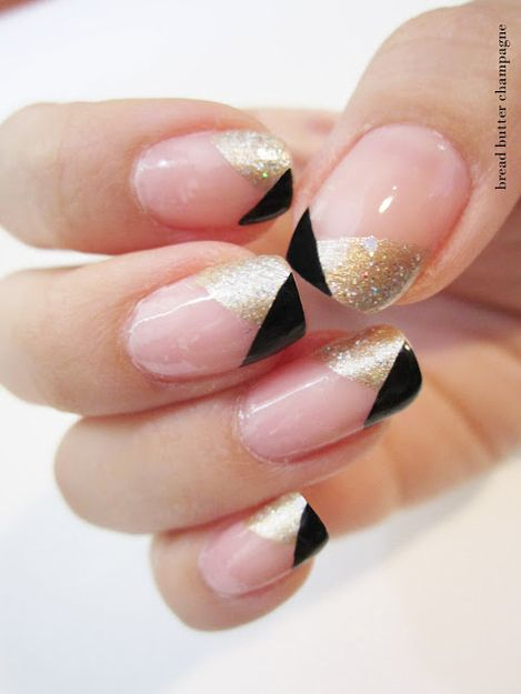 Great Gatsby Inspired Black Gold French Tips