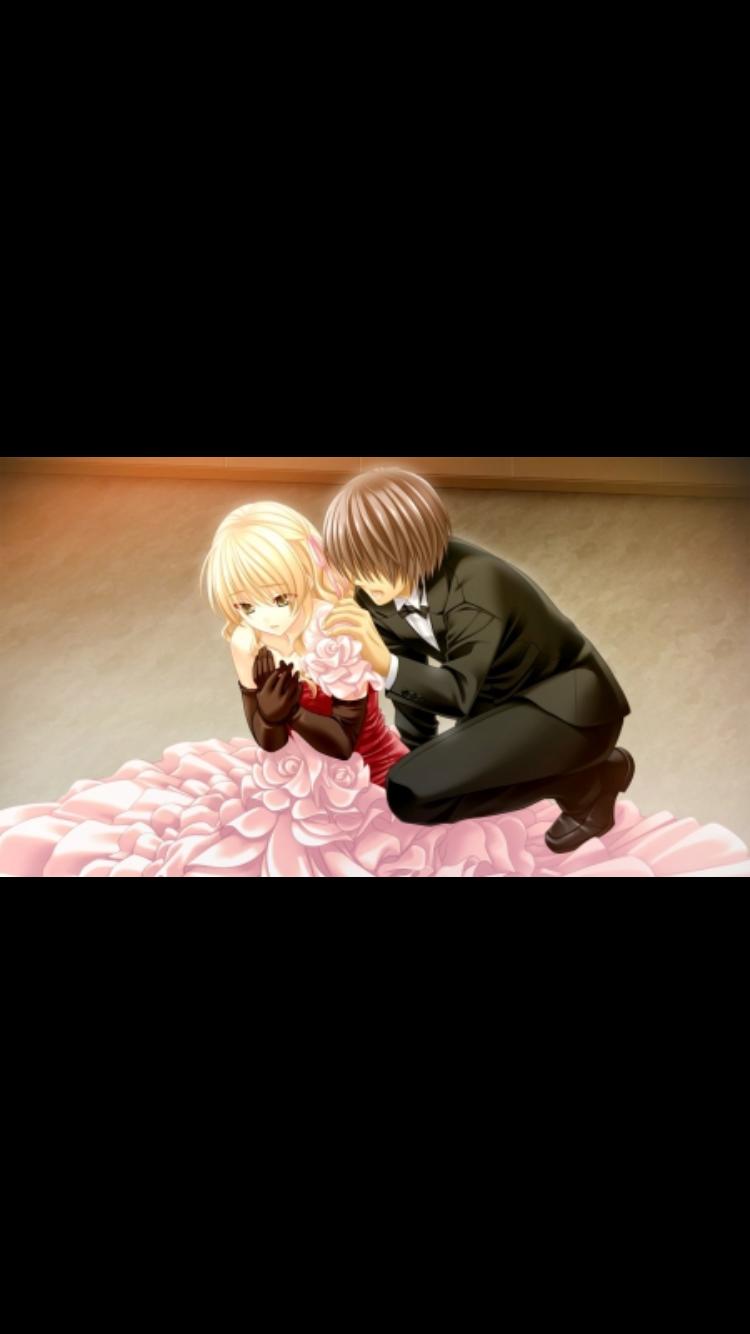 Blonde haired boy hugging brown haired girl Anime, Art