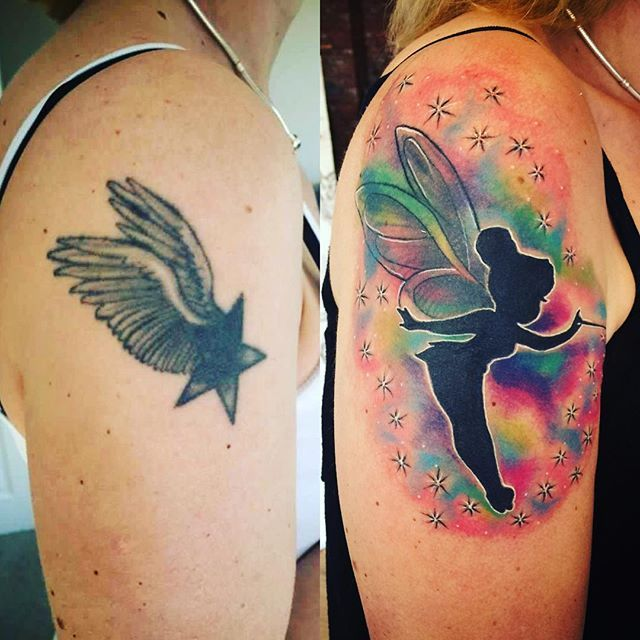 Cover Up By Fee Today Watercolortattoo Coveruptattoo Tinkerbell