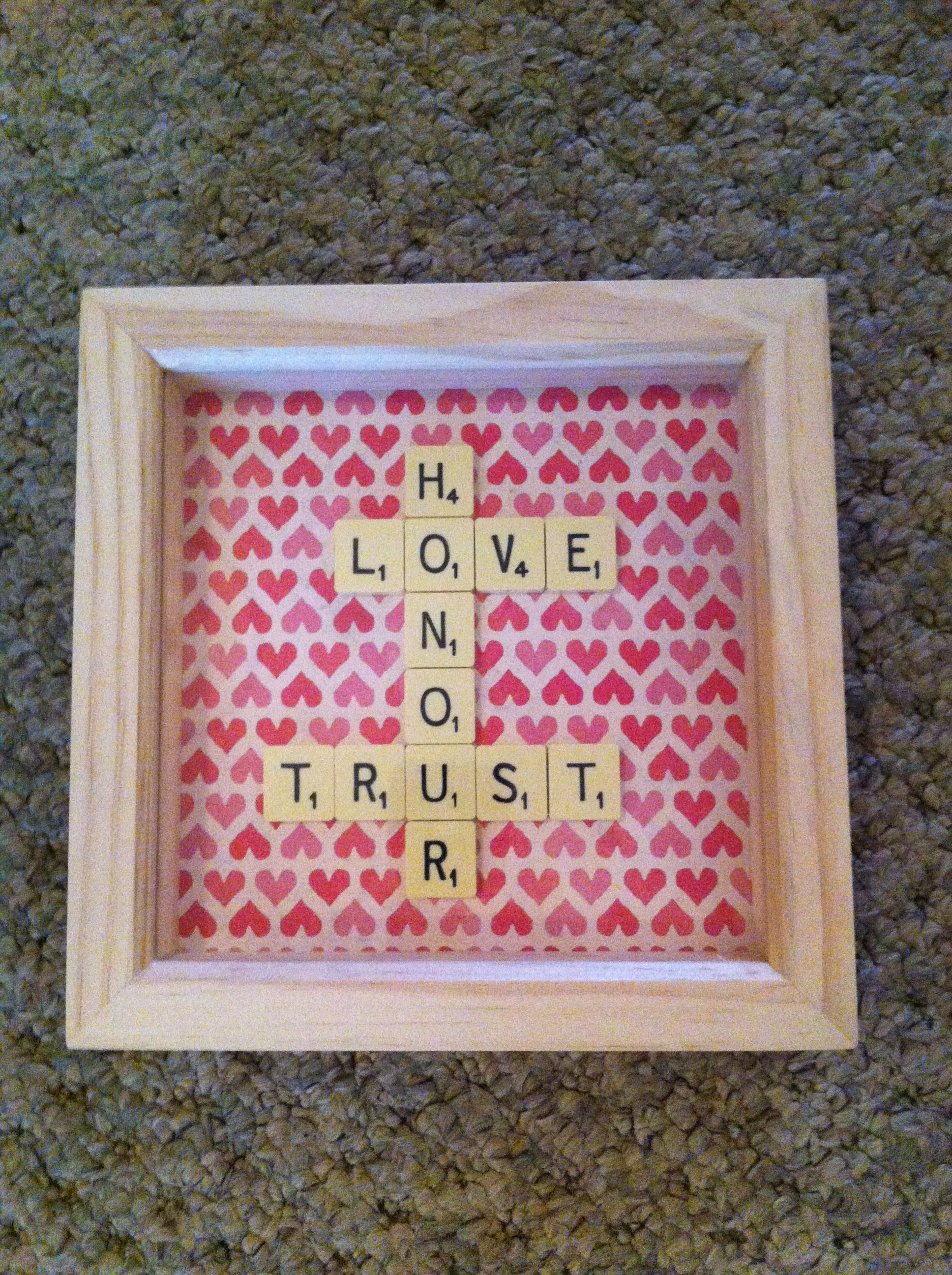 Word Art \'Love, Honour, Trust\' in a wooden box frame, great wedding ...