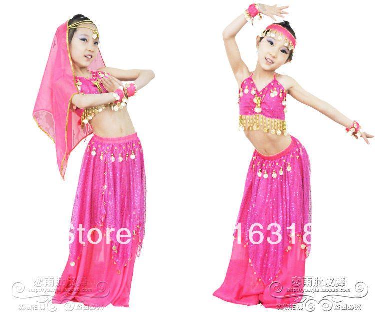9f9040d516 Children Multicolor Belly Dance Wear Set (Top,Coinskirt, Veil,Bracelets)  Indian Sari Costumes Stage Clothing for Kids $30.25