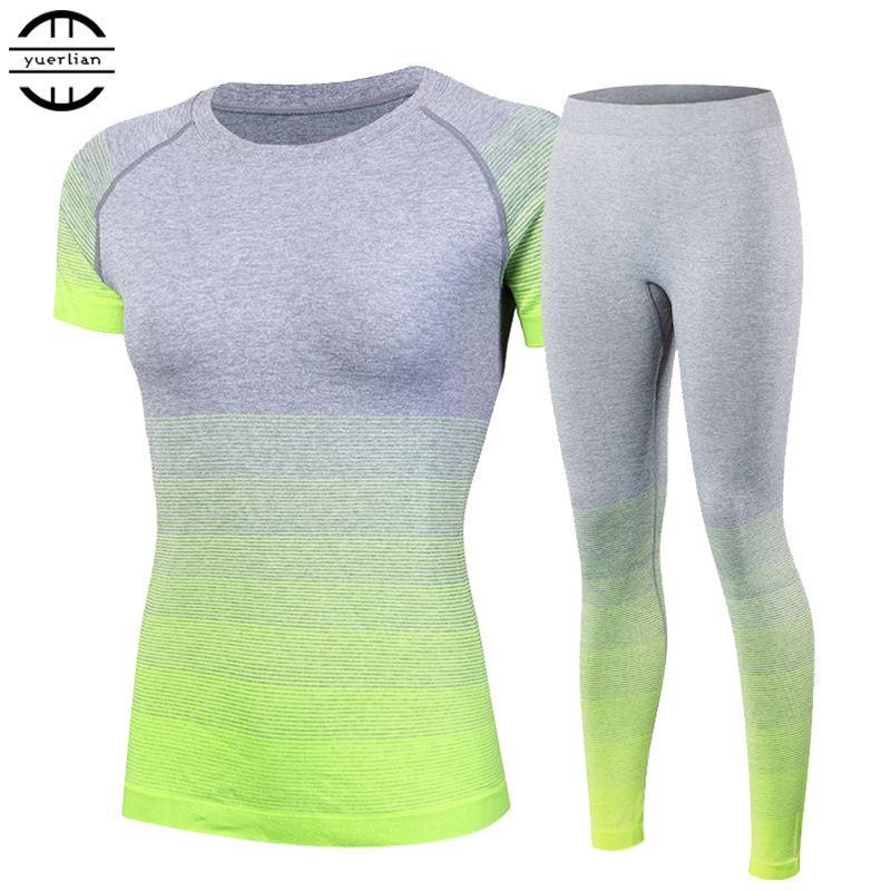 2016 merk vrouwen trainingspakken yoga sets ademend sport pak fitness gym running set yoga shirt top en yoga broek gym set meisje